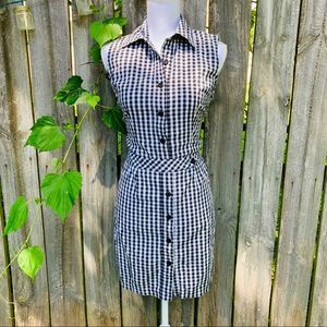 Vintage AGB gingham button up shirt sheath dress
